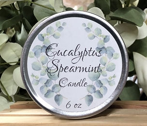6 oz Tin Candle Eucalyptus Spearmint